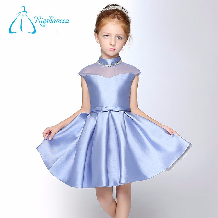 Hot Sale 2017 Custom Made Design Formal Navy Flower Girl Dress