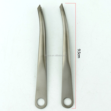 3.7 inch stainless steel slanted tip eyebrow tweezers precision esd/vetus tweezers/conductive tweezers with hole