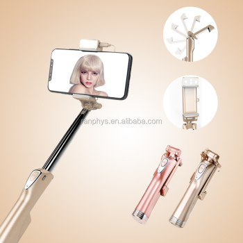 wholesale aluminum girl gift autodyne fill light selfie stick, wireless bluetooth selfie stick