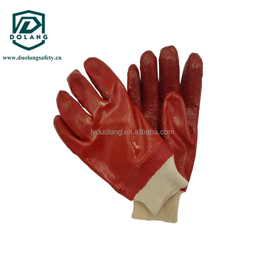 Knitted cotton oil proof PVC gloves, labor protection products