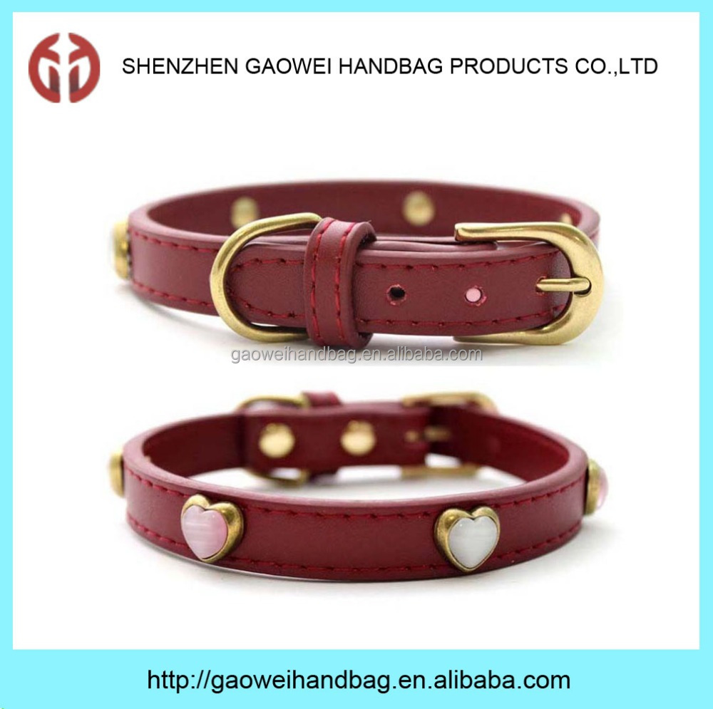 Red Genuine Leather Antique Hearts Design Pet Dog Puppy Collar