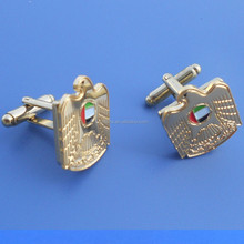 UAE falcon and national flag design golden metal cufflinks