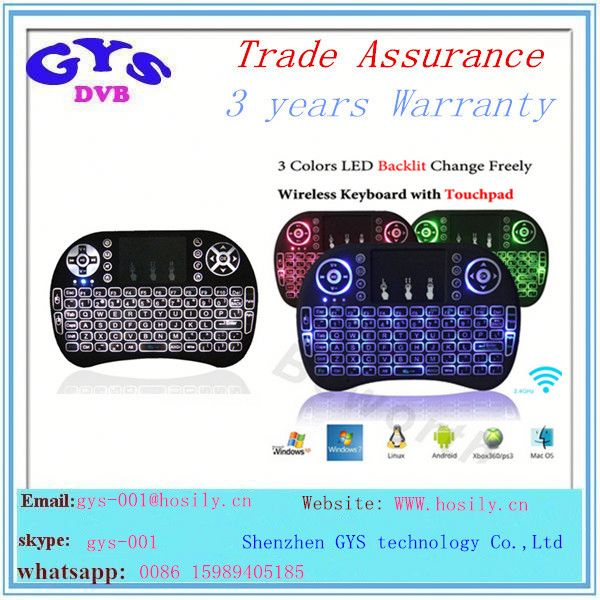 3 backlit 2.4G Remote Control Mini Wireless Keyboard i8 air mouse backlit keyboard i8 air mouse
