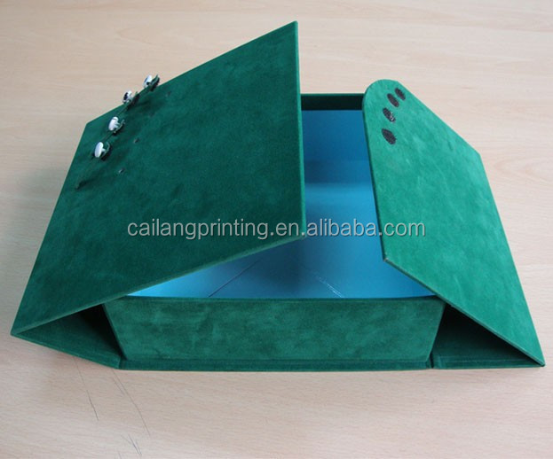 Green printing paper box with flocking with snap fastener for luxury packaging from china factory