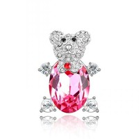3309 teddy bear shaped cheap wedding diamond hair brooch