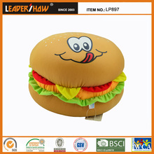 Wholesale creative plush hamburger shape pillow for gift or pet dog
