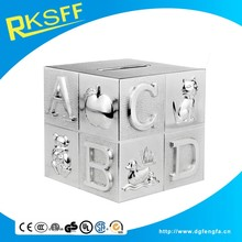 cube silver alphabet and animal money bank/coin bank box for kid christmas gift