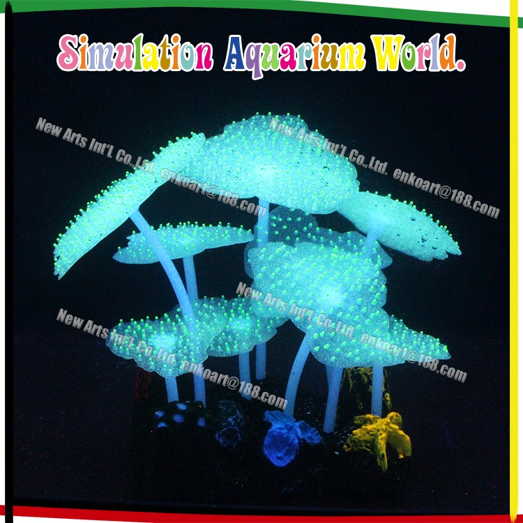 Plastic Plant Silicone Coral Sea Anemone for Aquarium Decoration, glowing and fluo lotus leaf