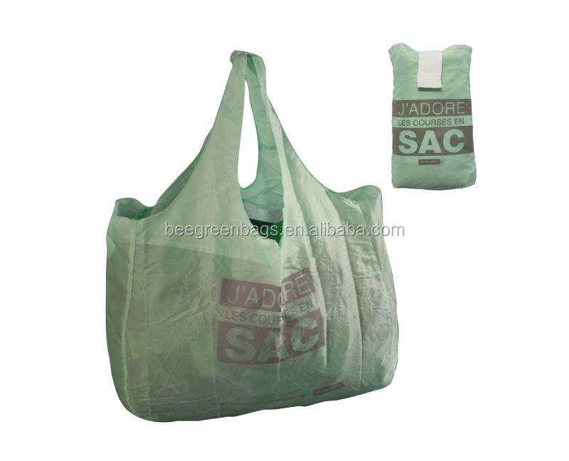 Shoulder shape Customized 210T Polyester SAC shopping bag with verlcro pouch