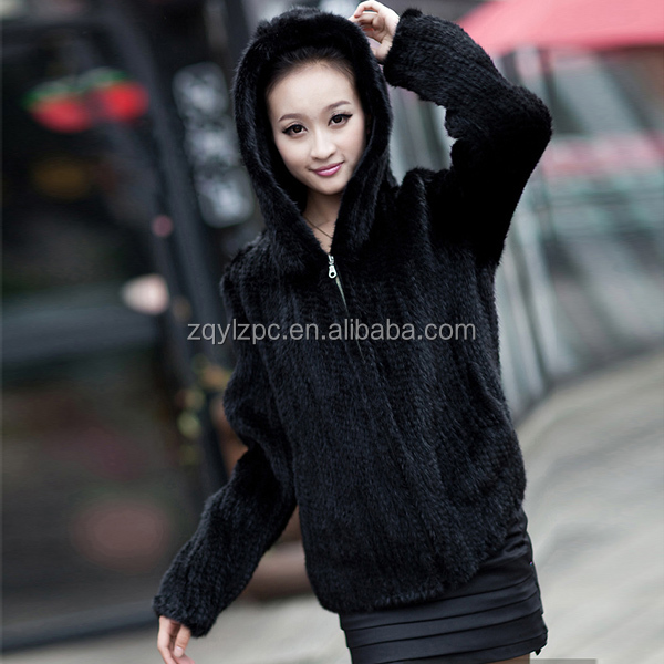 2015 Fashion women real mink fur jackets knitted raw mink fur coat with hood