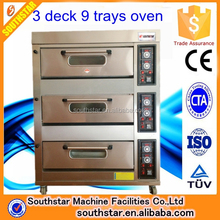 Industrial Bakery Equipment Manufacturer 3 Deck 9 trays Rotisserie Chicken Gas Stainless Steel Pizza Ovens