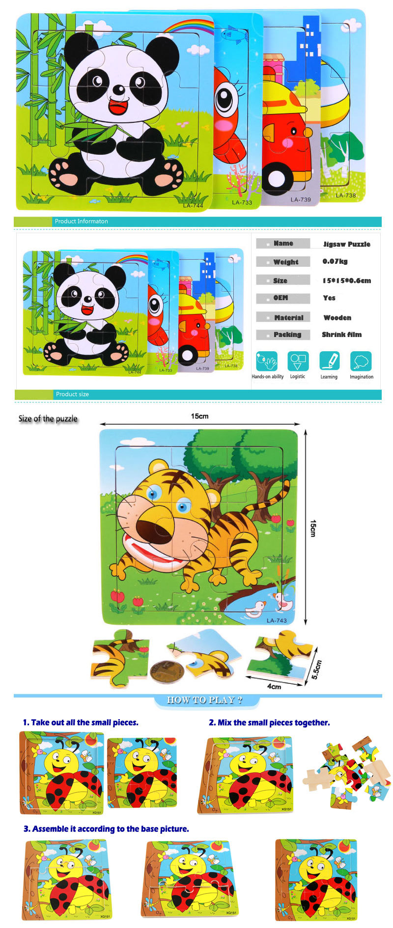 Wooden Mind Games for Kids Wooden Jigsaw Puzzles with Magnets