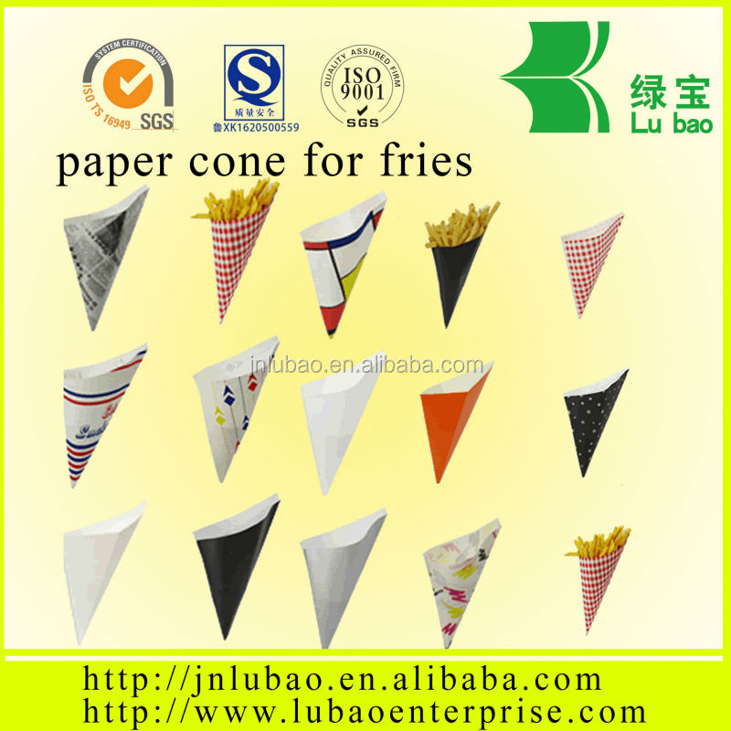 Folding paper cone for crisps