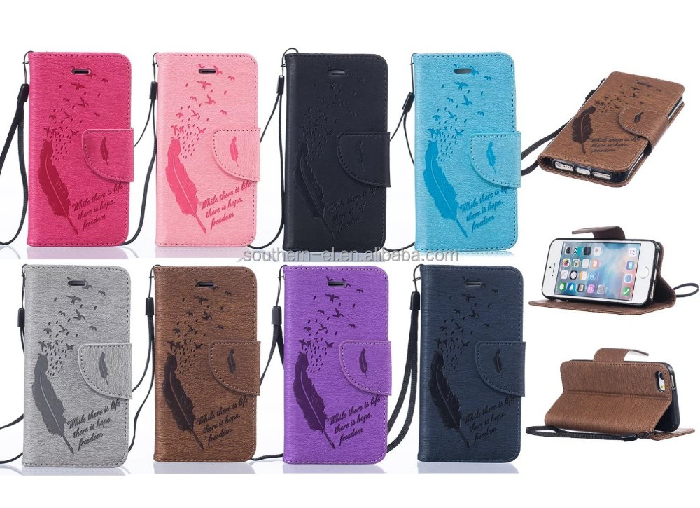 Luxury PU Leather Case For iPhone6 6s Flip Stand Wallet Coque with Silicone Phone Back Cover Flower Pattern