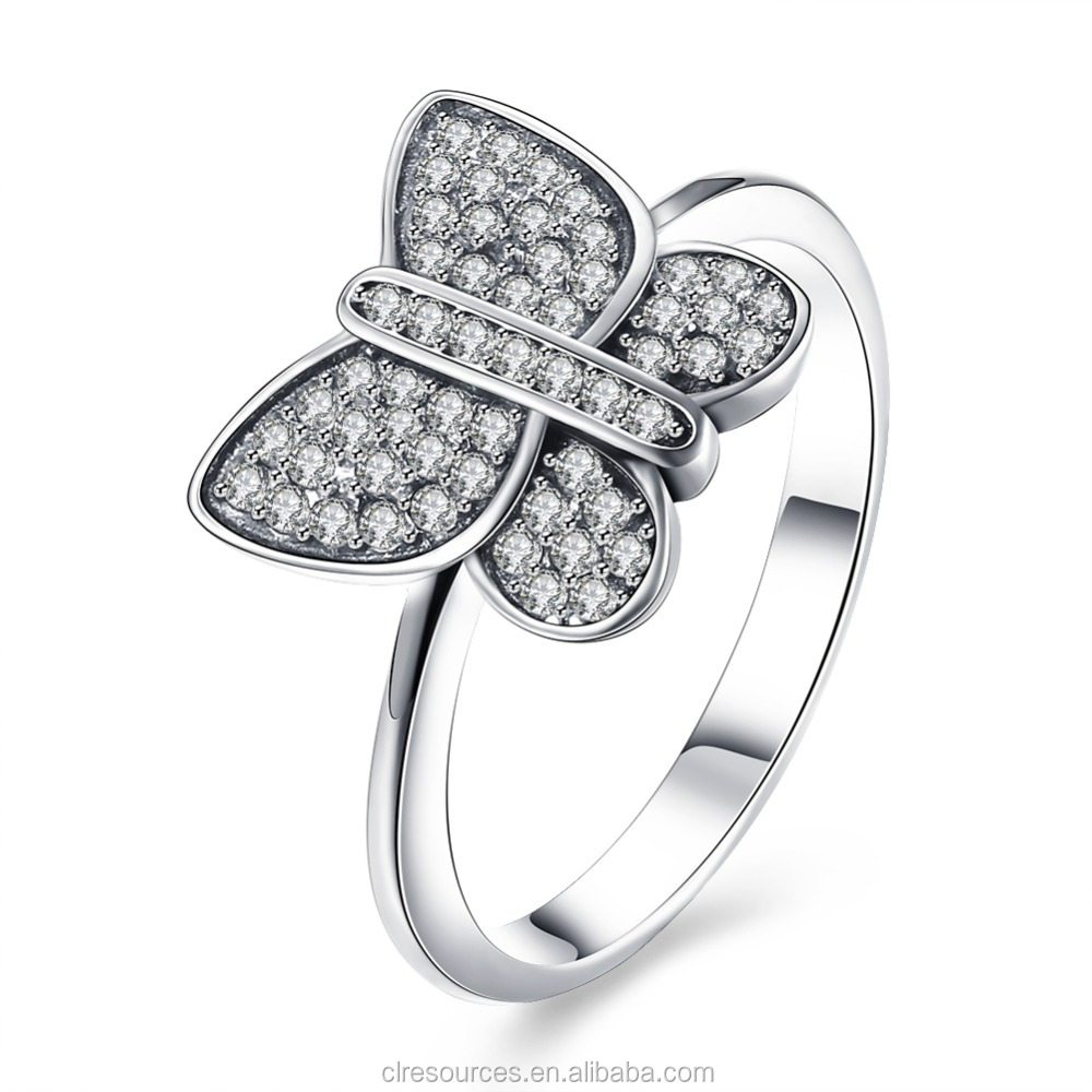 925 Sterling Silver Ring With Diamond Butterfly CZ Fashion Modern Ring