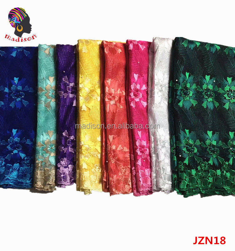 2017 French fabrics latest style african swiss tulle lace african embroidered net lace fabric with stones/JZN18