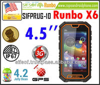 SIFPRUG-10 Runbo X6 SmartPhone Rugged IP67 MTK6589 Quad Core Android 4.2 OS cell phone 4.5 Inch Screen 13 MP Camera