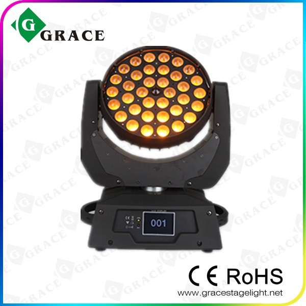 RGBWA UV touch screen Zoom 36*18W 6in1 led moving head wash