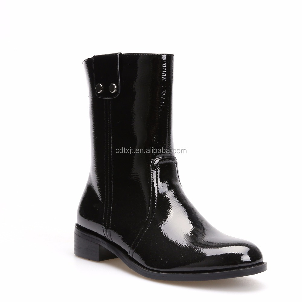 Fashion black leather shoes Waterproof horse riding boots