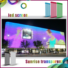 mazing effect sunrise advertising led curtain, transparent led curtain display mesh screen panel