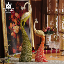 New Products Antique Animal Colorful Peacock Couple Figurine Resin Craft Home Decor