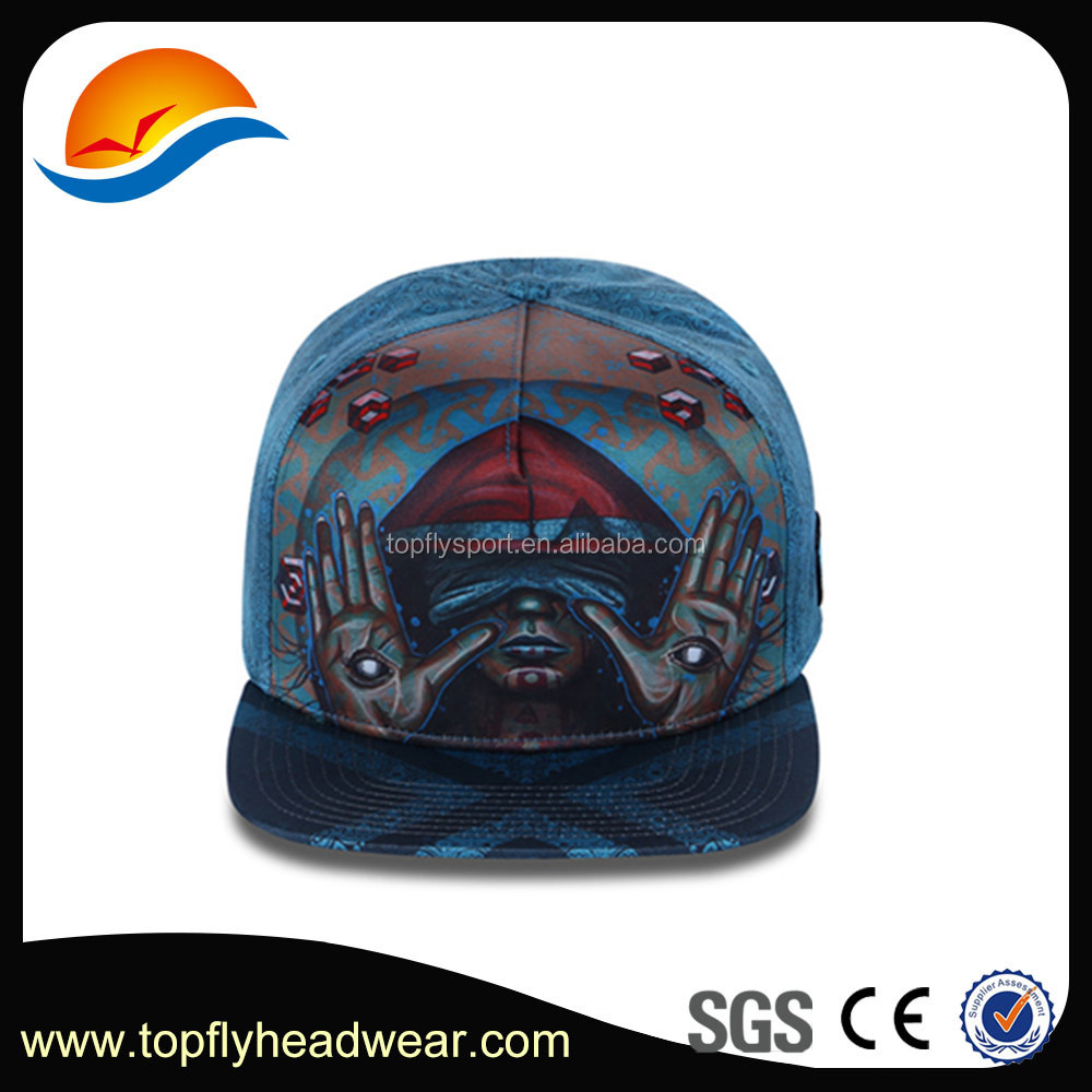 Wholesale low price 5 panel baseball cap sublimation printing snapback hat