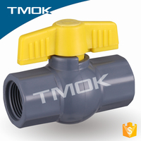 black plastic valve body and yellow butterfly handle screwed connection ball valve in TMOK