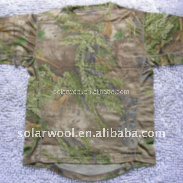 Merino wool Men's hunting camouflage T-shirt