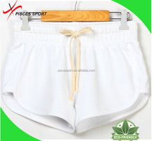 pure white beach shorts women sexy tight cotton shorts factory supply