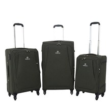Simple New Design Soft Handle Nylon 3 pcs set 4 wheels Aluminium Trolley Luggage Bags Cases