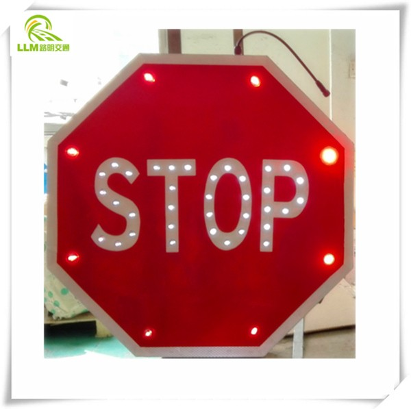 LED Solar Stop Traffic Sign
