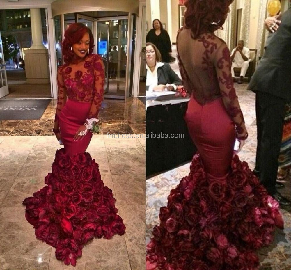 Red Rose Prom Dresses Long Sleeve Ruffles Taffeta Floor Length Appliques Embroidery Prom Dress 2015 FMG21