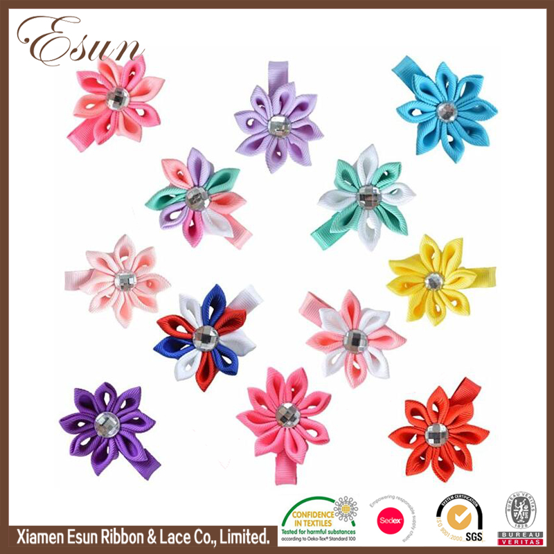 Children metal colorful petals bows wholesale bobby pins for hair