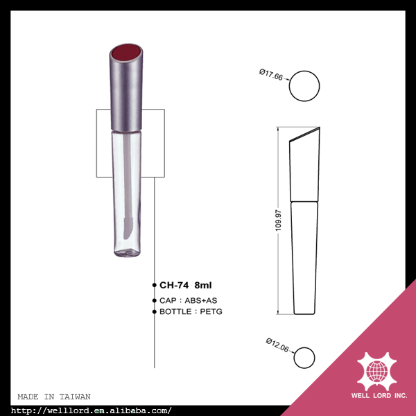 Wholesale must buy items cylindrical silver red cap clear lip gloss tubes
