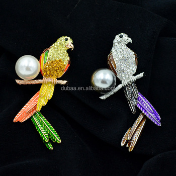 Fun Colorful Painted Clear Crystal Rhinestone Parrot Bird Design Pin Brooch