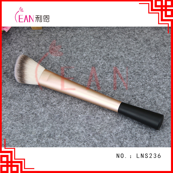 2017 3 tone synthetic hair aluminum ferrule blush brush single brush