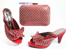 DHSB8107-1 Nigeria Style High heel bowknot crystal women party slipper and bag wedding party shoes and bag set