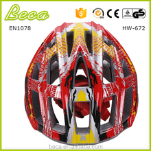 Novelty bright color helmet PC shield in-mold bicycle helmet for adult with safety strap and black EPS