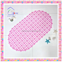 Pink cheap bubble cushioned oval anti-slip bath tub safety mat with high grip suction cups