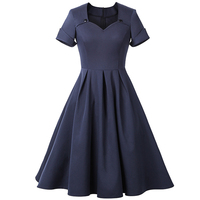 OEM Blue Elegant Lady Dress Mature Women Midi Dress Vintage Dress