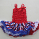 baby festival clothes red white and blue lace strap dress Patriotic girls dress in party