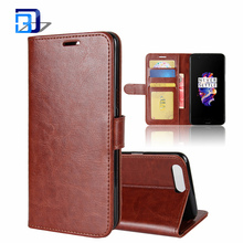 Luxury Slim PU Leather Flip Protective Magnetic Wallet Cover Case for OnePlus 5 with Card Slot and Stand Feature - Brown