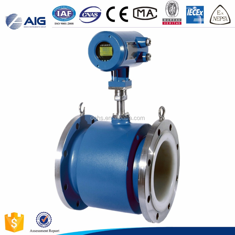 Flange connection High accuracy PTFE electromagnetic industrial waste water flow meter