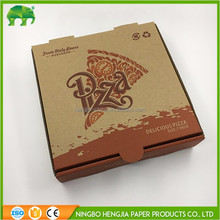 Folding brown kraft paper custom pizza box with logo