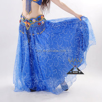 Aqua Blue Long Cheap Belly Dance Skirts arabic long skirt
