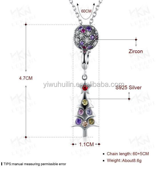 LKN013 Huilin Jewelry 925 Sterling Silver Zircon With Christmas Tree Women Girl's Long Chain Necklace