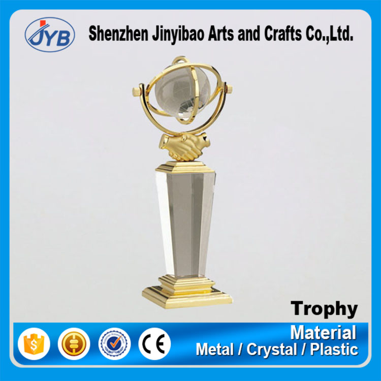 China handshake souvenir metal apophyllite crystal trophy for business