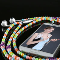 Colorful pearl cable in ear earphone accessory for mobile phone