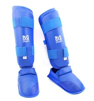 WKF Standard PU Leather Karate Hook Shin and Instep Guard in All Size