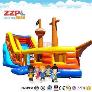 ZZPL New attractive inflatable pirate bouncer outdoor inflatable pirate combo inflatable pirate ship with slide for kids